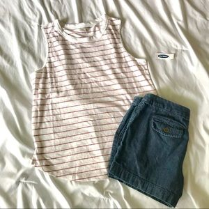 SALE!! Old Navy White & Red Striped Tank NWT